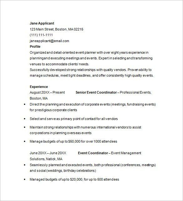Event Planner Resume Template. By Clicking Build Your Own, You ...