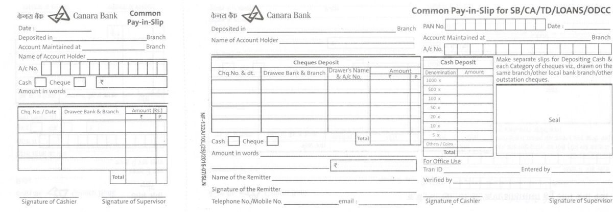 Formats of Bank Deposit Slip Free Download Excel PDF
