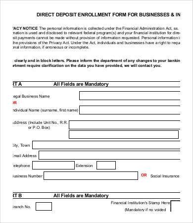 Direct Deposit Form Template - 9+ Free PDF Documents Download ...