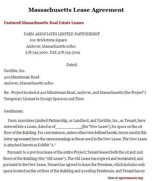 Massachusetts Lease Agreement, Sample Massachusetts Lease ...