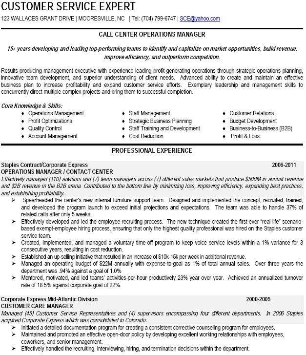 Call Center Manager Resume | berathen.Com