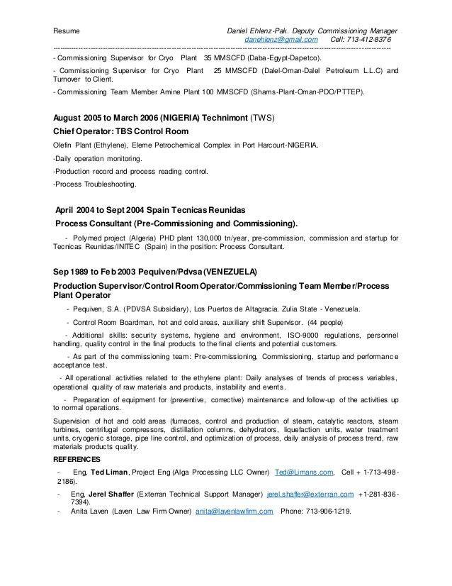 D Ehlenz-Pak . Deputy Commissioning Manager CV