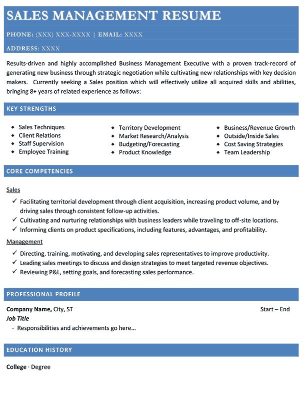 Resume for Sales Manager Position 2017 | Resume 2017