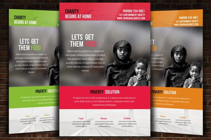Charity & Donation Flyer Templates by Designhub | TheHungryJPEG.com