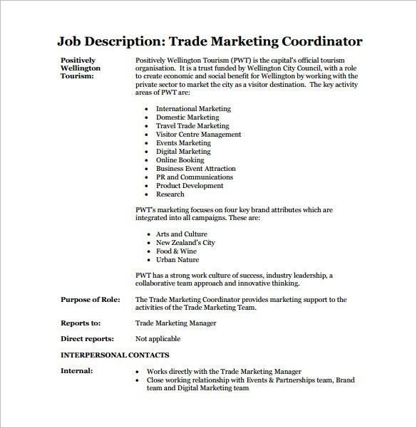 13+ Marketing Coordinator Job Description Templates - Free Sample ...