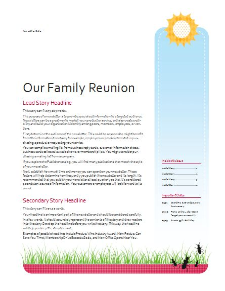 family reunion newsletter template - Google Search | Family ...