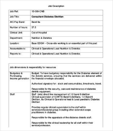 Dietitian Job Description. Job Description Template - Google ...