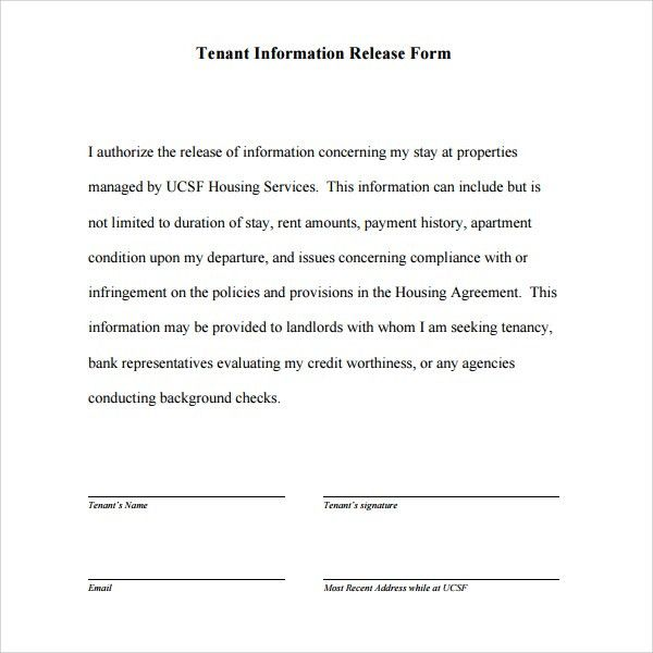 Sample Tenant Information Form - 10+ Download Free Documents in ...