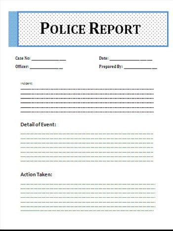 Format Of Police Report Template Word – Microsoft Word Templates ...