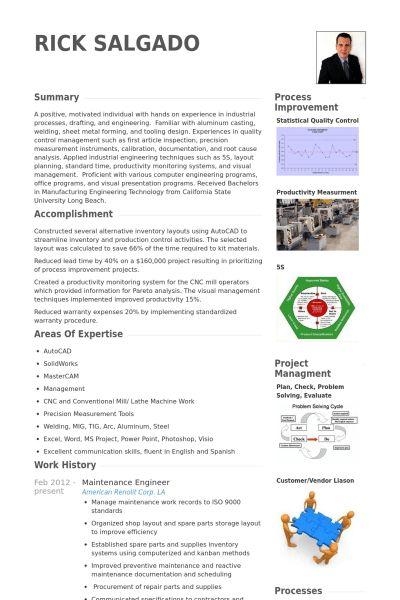 Maintenance Engineer Resume samples - VisualCV resume samples database