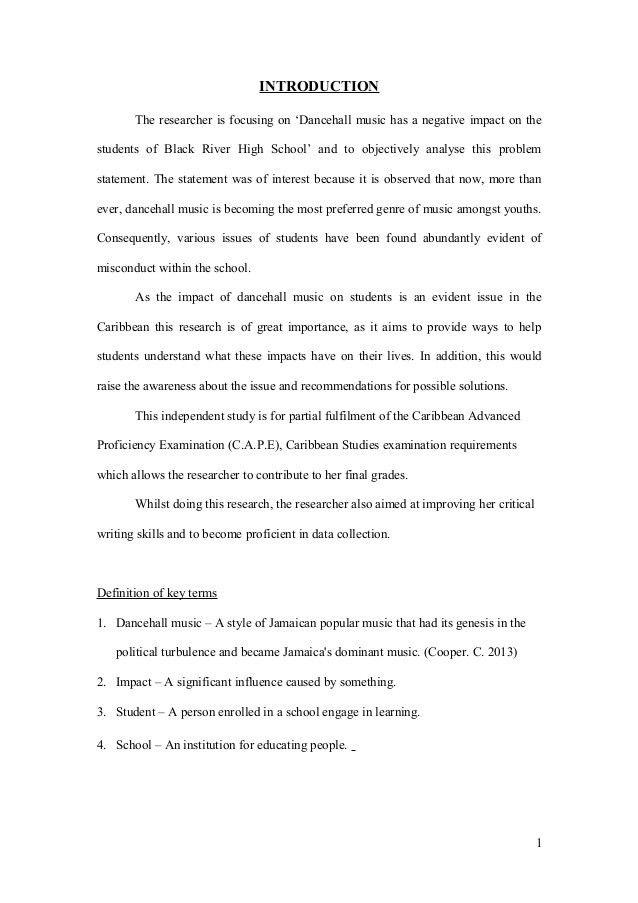 Caribbean Studies Internal Assessment (Sample)