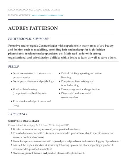 Shoppers Drug Mart Cosmetician Resume Sample - Grand Cane ...