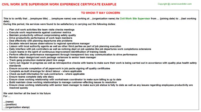 Civil Work Site Supervisor Work Experience Certificate