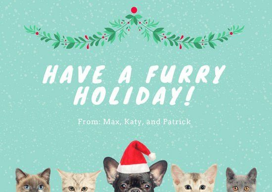 Cats and Dogs Funny Christmas Card - Templates by Canva