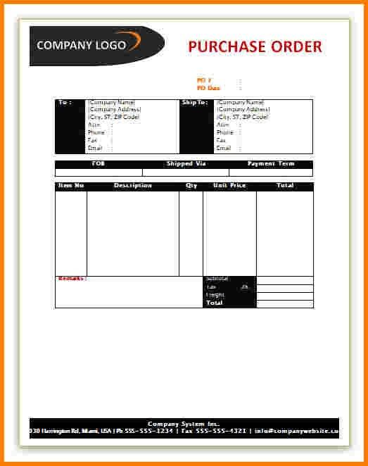 4 purchase order template word | Receipt Templates