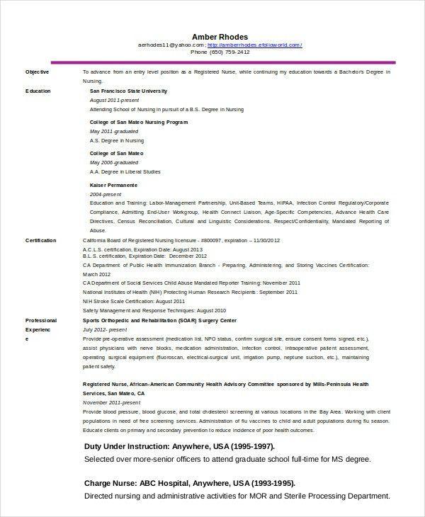 Nurse Resume - 11+ Free Word, PDF Documents Download | Free ...