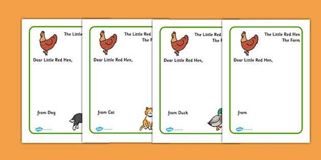 Little Red Hen Letter to Hen Writing Template - Little Red Hen