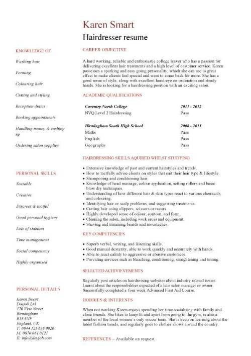hair stylist CV sample, beauty CV, hair removal, fashion, resume ...