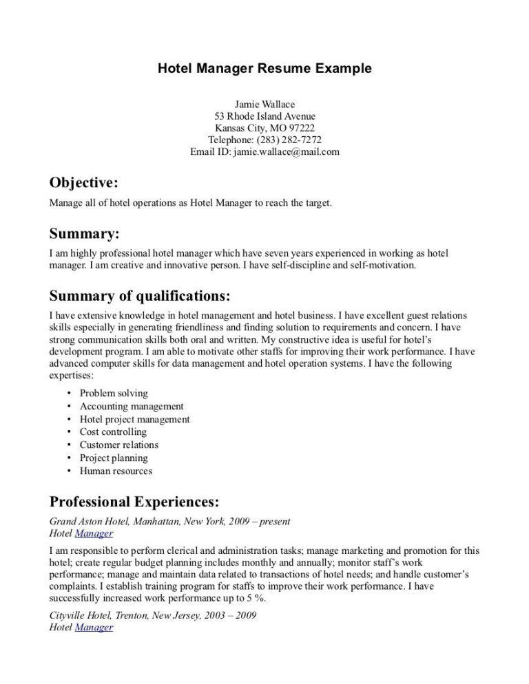 hotel sales manager resume cover letter