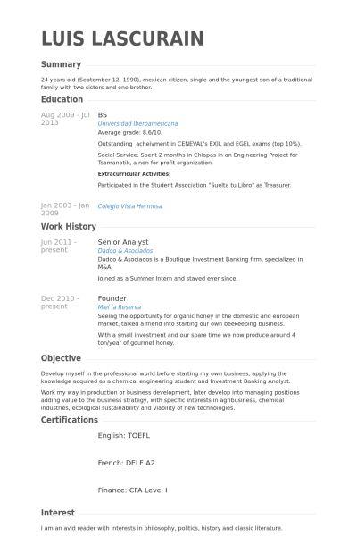 Senior Analyst Resume samples - VisualCV resume samples database