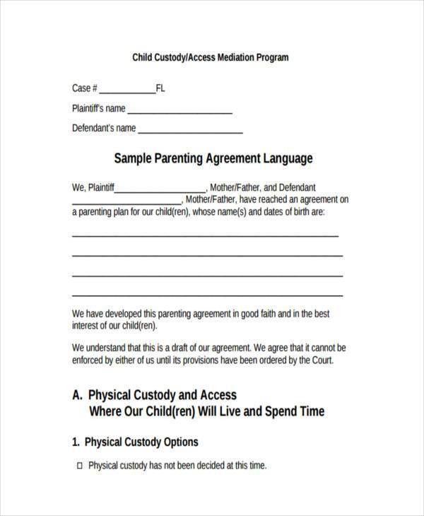 8+ Custody Agreement Form Samples - Free Sample, Example Format ...
