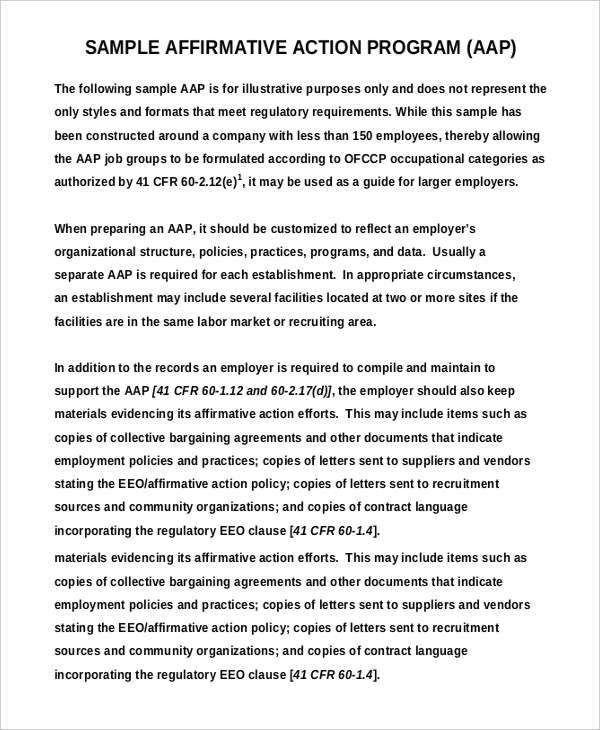 Sample Affirmative Action Plan