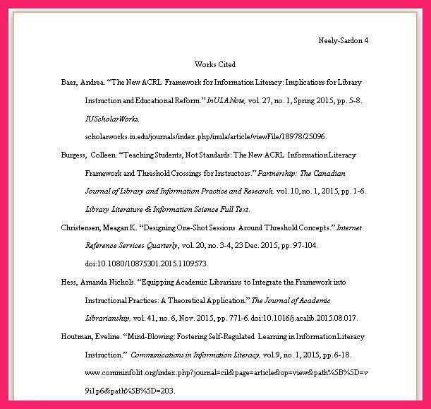 mla work cited page format | bio letter format
