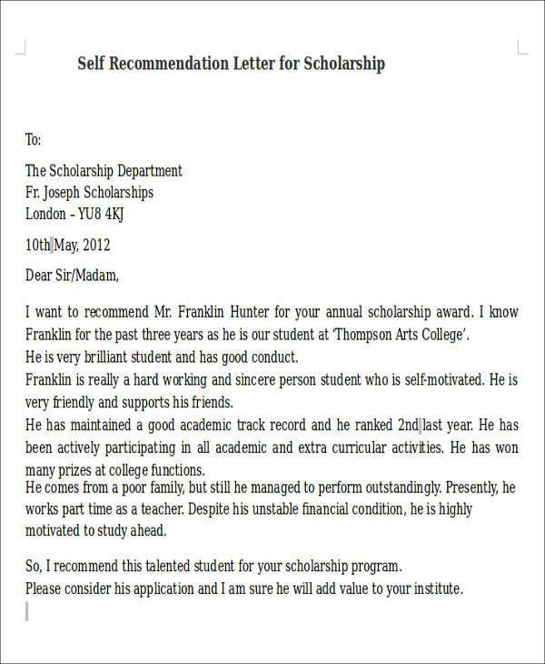 Self Recommendation Letter. Letter Of Recommendation Template ...