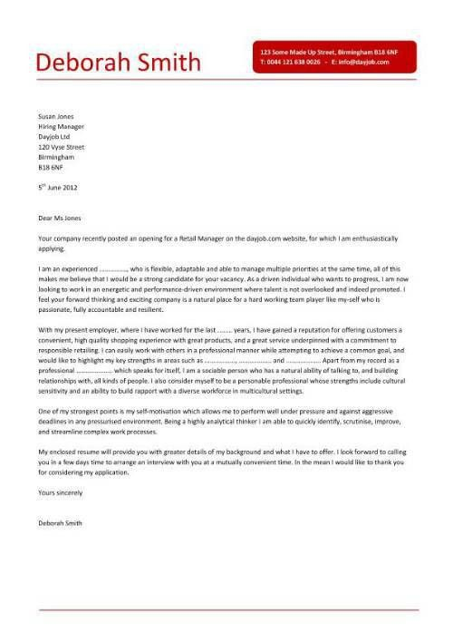sample cover letter for store manager employment character cover ...