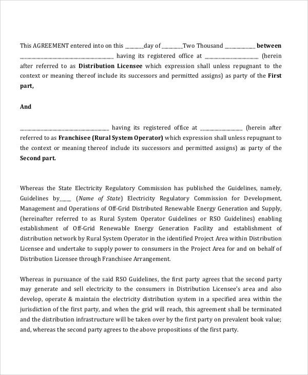 Sample Franchise Agreement Form   6+ Documents In PDF