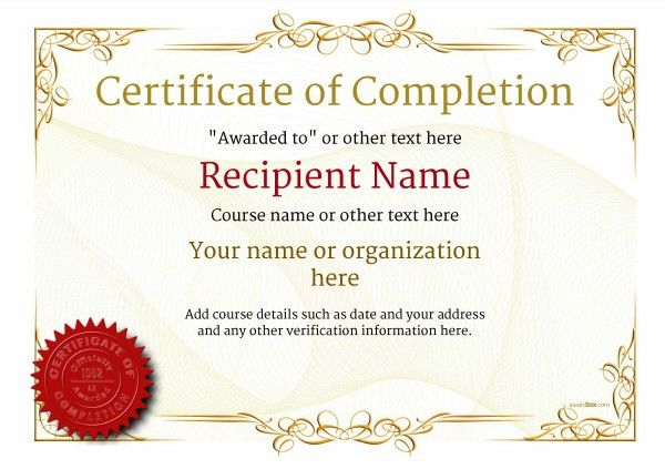 Certificate of Completion - Free Quality Printable Templates ...