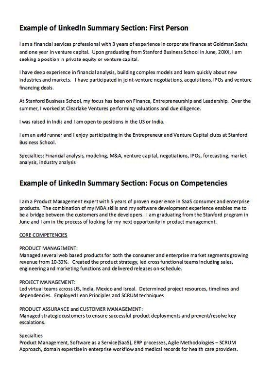linkedIn Summary Resume Example - http://resumesdesign.com ...