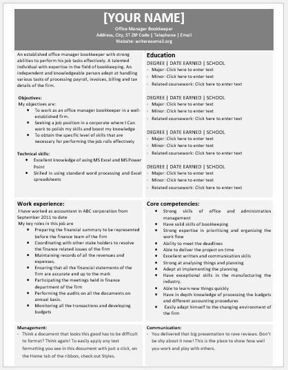 Office Manager Bookkeeper Resumes for MS Word | Resume Templates
