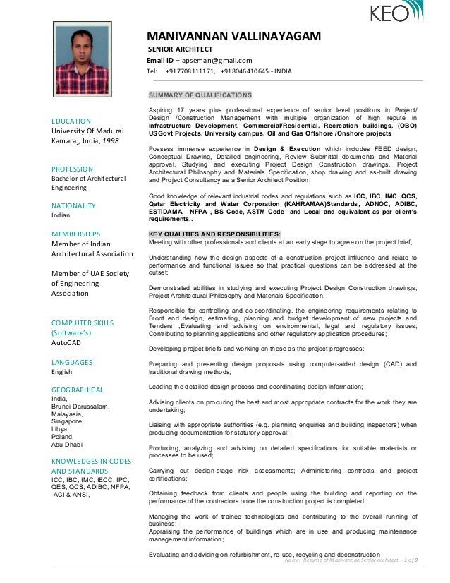 Resume of Manivannan - Senior Architect