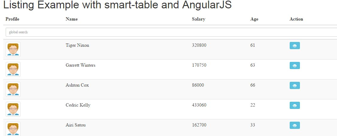 AngularJS Smart Table Example with Demos - JS Tutorials