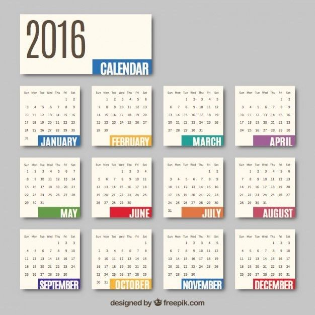 2016 monthly calendar Vector | Free Download