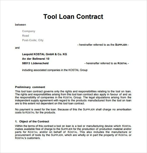 Sample Loan Contract Templates - 10+ Free Documents in PDF , Word