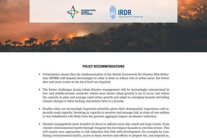 ICSU | Disaster Risk Reduction Policy Briefs (2017)