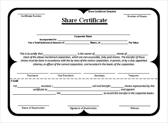 example blank stock certificate template free download : Selimtd