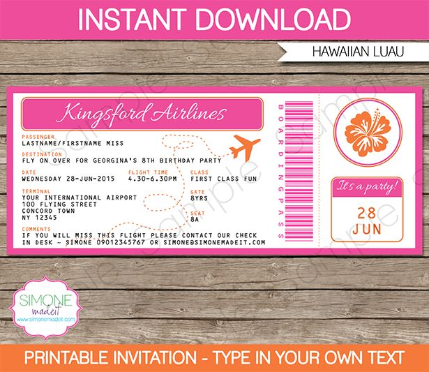 Hawaiian Luau Boarding Pass Invitations Template | Boarding pass ...