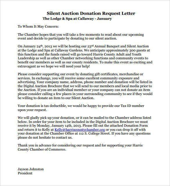 silent auction donation request letter template – Letter Format ...