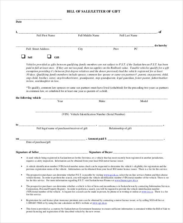 Free Printable Bill of Sale Sample - 9+ Examples in PDF, Word