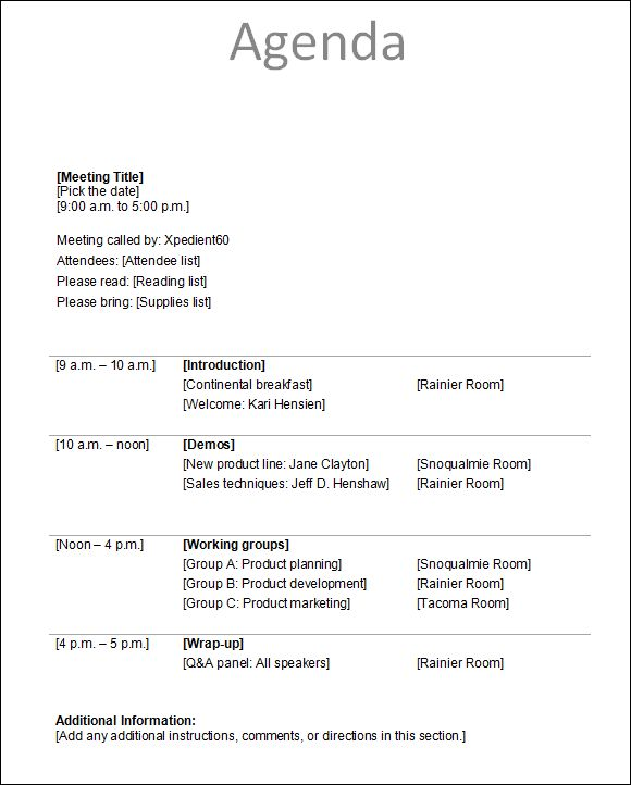 Conference Agenda Template : Business Agenda Template. General ...