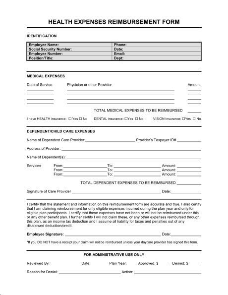 Reimbursement Form Medical Expenses - Template & Sample Form ...
