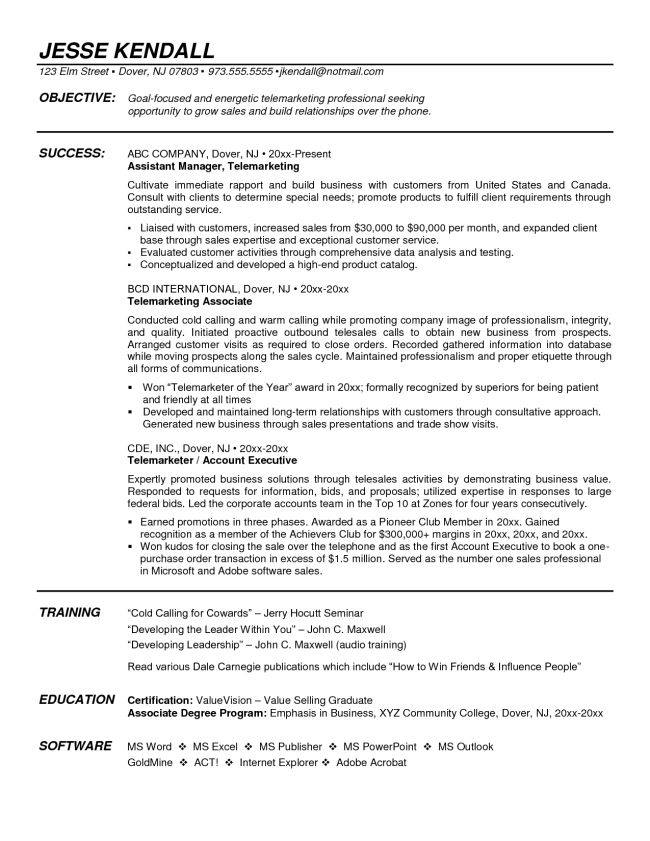 Inside Sales Rep and Telemarketing Sample Resume : Vinodomia