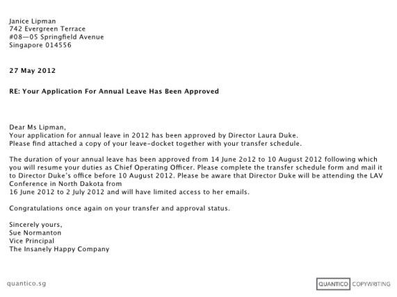 Leave Approval Letter - Writing Professional Letters