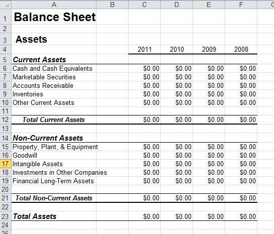 Balance Sheet Template In Excel