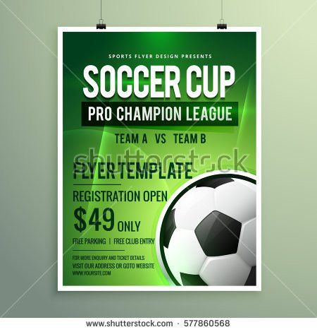 Soccer League Sports Event Flyer Design Stock Vector 577860568 ...