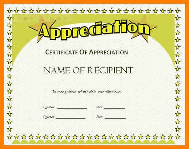 8+ sample format of certificate of appreciation | joblettered