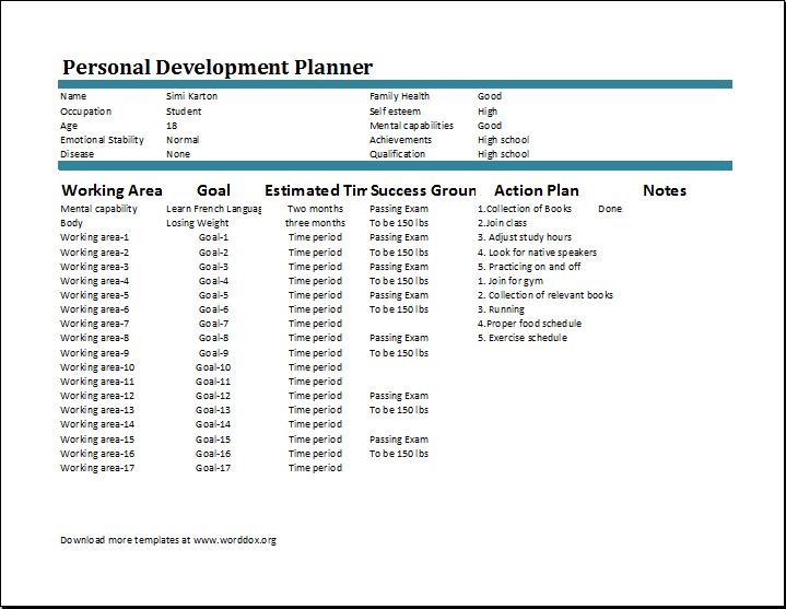 Personal Development Plan Template | Word Document Templates